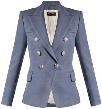 Balmain Double-breasted peak-lapel piqué blazer