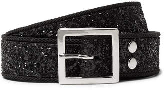 Amiri 3cm Faux Leather-Trimmed Glittered Canvas Belt