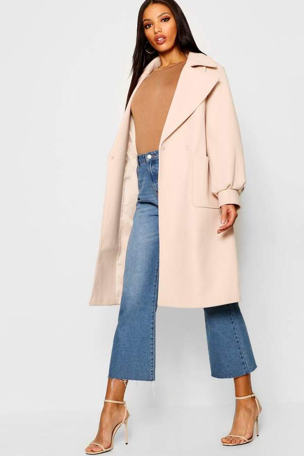 Oversized Sleeve Wool Look Coat