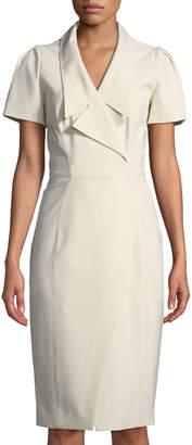 Zac Posen Collared Short-Sleeve Cocktail Dress w\/ Asymmetrical Slit