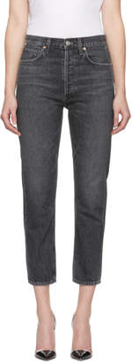 Citizens of Humanity Black High-Rise Straight Cropped Charlotte Jeans