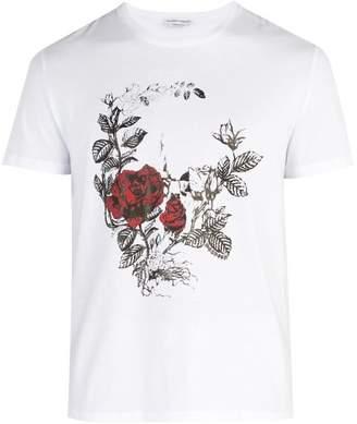 Alexander McQueen Rose Printed Cotton Jersey T Shirt - Mens - White Multi