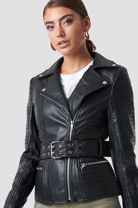 Pamela X Na Kd Belted Faux Leather Jacket Black