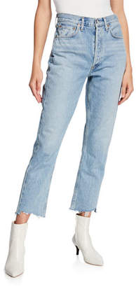 A Gold E AGOLDE Riley High-Rise Straight Crop Stagger Jeans