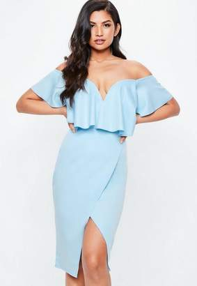 Missguided Blue Bardot Frill Sweetheart Midi Dress