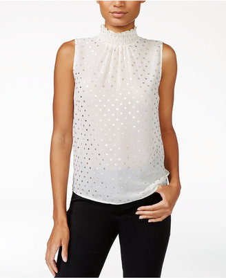 Maison Jules Metallic-Detail Mock-Neck Top, Only at Macy's $69.50 thestylecure.com