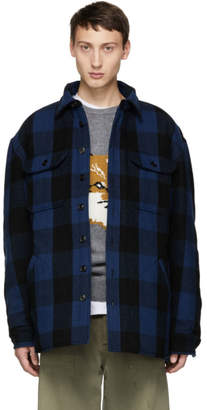 R 13 Black and Blue Check Workshirt Jacket