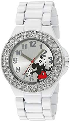 Disney Women's MK2072 Mickey Mouse Dial White Enamel Bracelet Watch