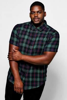 boohoo Big And Tall Green Check Short Sleeve Shirt