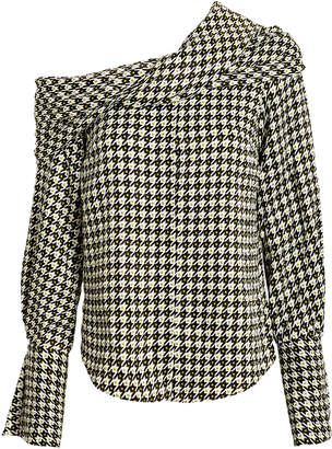 Hellessy Calla Draped Houndstooth Top