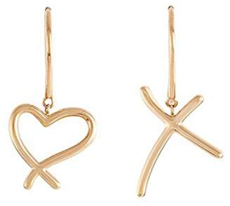 Stephen Webster 'Neon Heart and Kiss' 18k yellow gold mismatched drop earrings