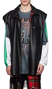Vetements Men's Reversible Leather & Flannel Oversized Vest - Black