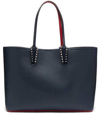 Christian Louboutin Cabata Spike Embellished Leather Tote - Womens - Navy