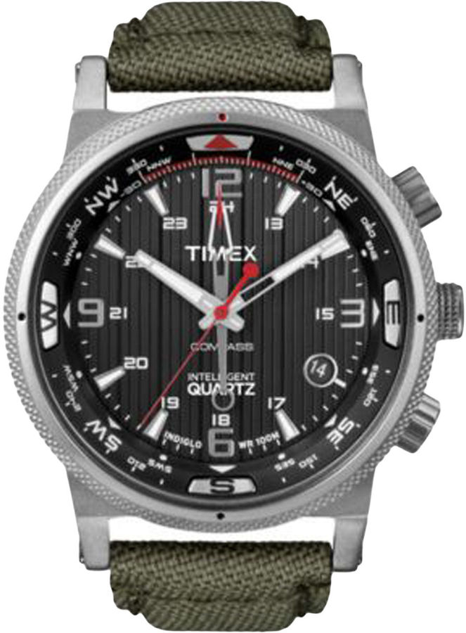 Timex Stainless Steel Quartz Watch with Canvas Strap