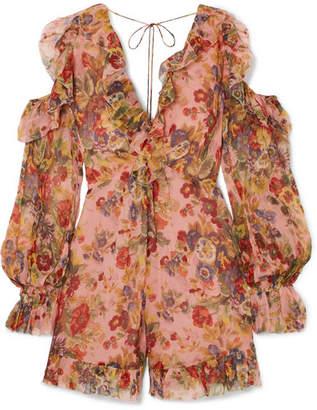 Zimmermann Lovelorn Cold-shoulder Ruffled Floral-print Silk-georgette Playsuit - Antique rose