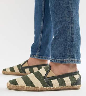 Frank Wright Wide Fit Stripe Espadrilles In Khaki
