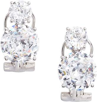 Nadri Double Cubic Zirconia Clip Stud Earrings