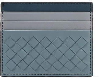 Bottega Veneta Color-block Intrecciato Leather Cardholder - Blue