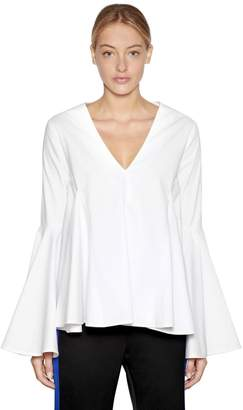 Ellery Flared V Neck Cotton Poplin Top