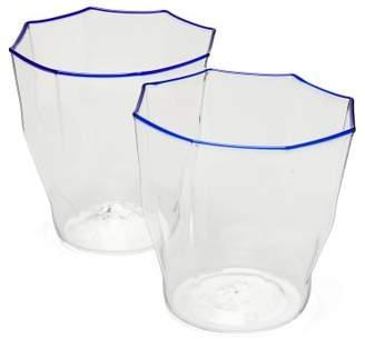 Murano Campbell Rey Campbell-rey - Set Of 2 Rosanna Stripe Glasses - Blue