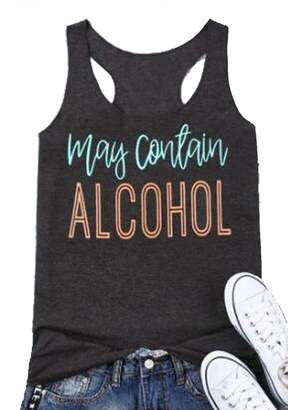 SPORSET Women May Contain Alcohol Letters Print Sleeveless Summer Tank Tops T-Shirt Size L