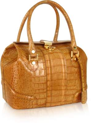 At Forzieri L A P Sand Croco Stamped Italian Leather Tote Bag