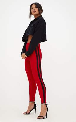 PrettyLittleThing Red High Waisted Track Trousers