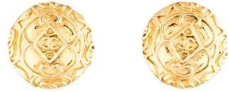 Chanel Etched Scroll CC Clip-On Earrings