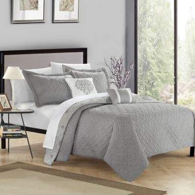 Chic Home Xanadu 4-Piece Twin Quilt Set in Grey
