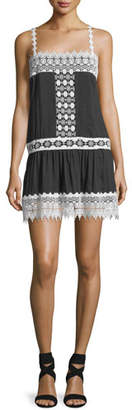 Blend of America Queen & Pawn Cotton-Silk Mini Dress with Lace Details