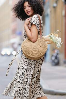 Oasis Womens Black/White Shattered Heart Button Midi Dress - Black