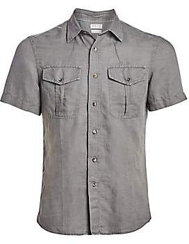 Brunello Cucinelli Men's Short-Sleeve Linen Button-Down Shirt
