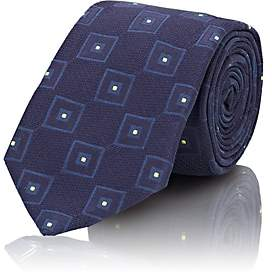 Tie Your Tie TIE YOUR TIE MEN'S FRANK SQUARE-PATTERN TEXTURED SILK NECKTIE-NAVY