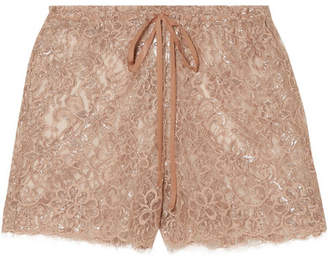 Miguelina Chica Metallic Chantilly Lace Shorts - Antique rose