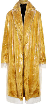 CALVIN KLEIN 205W39NYC - Layered Pvc And Faux Fur Coat - Yellow