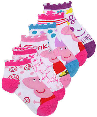 Peppa Pig Infant & Toddler Ankle Socks - 6 Pack - Girl's