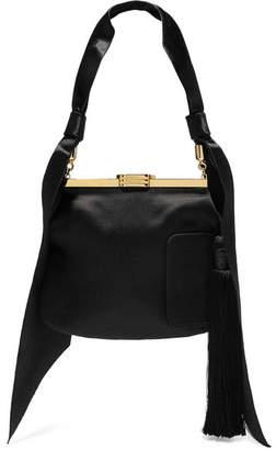 Bienen-Davis - 4 Am Tasseled Satin Shoulder Bag - Black