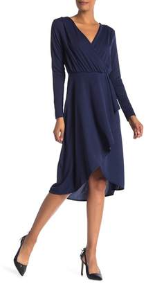 Vanity Room Solid Knit Surplice Wrap Dress