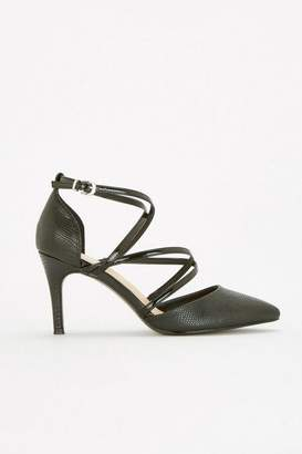 Wallis Black Multi Strap Mid Heel Court Shoes