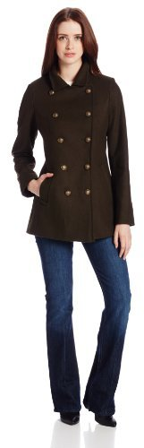 Tommy Hilfiger Women's Double-Breasted Warm Wool Coat with Stand Collar