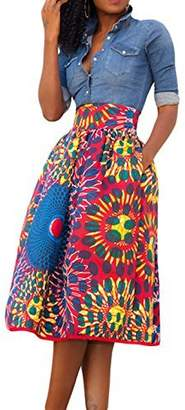 Annflat Women's African Print Knee Length Flare Skirts With Pockets