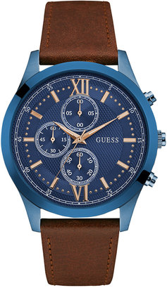 GUESS Men's Chronograph Brown Leather Strap Watch 43mm U0876G3 $150 thestylecure.com