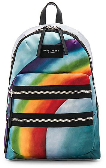 Marc Jacobs Rainbow Printed Biker Backpack in Blue.