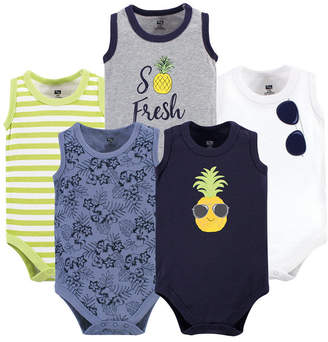 Hudson Baby Sleeveless Cotton Bodysuits, 5 Pack