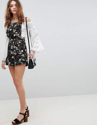 Kiss The Sky Overall Romper In Floral Print