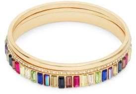 Ava & Aiden Goldtone Multi-Color Gemstone Stackable Bangle Bracelet