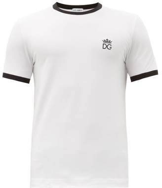 Dolce & Gabbana Logo Embroidered Cotton Blend Pyjama T Shirt - Mens - White