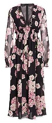 Giambattista Valli Women's Ruffled Floral Silk Midi Dress