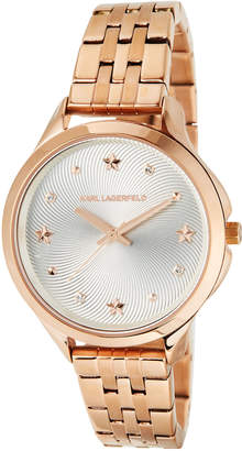 Karl Lagerfeld 38mm Karoline Bracelet Watch, Rose/Silvertone