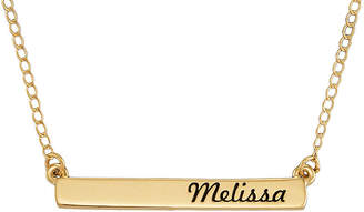 JCPenney FINE JEWELRY Personalized 10K Yellow Gold Engraved Name Bar Necklace